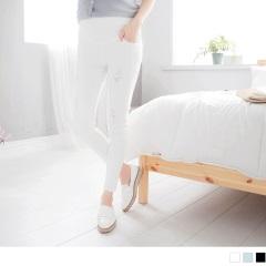 0626新品 彈性斜紋刷破不修邊造型窄管孕婦褲‧3色