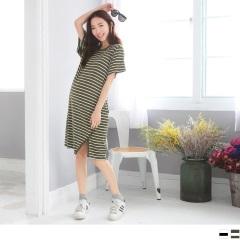 條紋開衩滾邊設計長版上衣/洋裝.2色