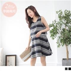 幾何印花無袖傘擺孕婦哺乳洋裝.2色