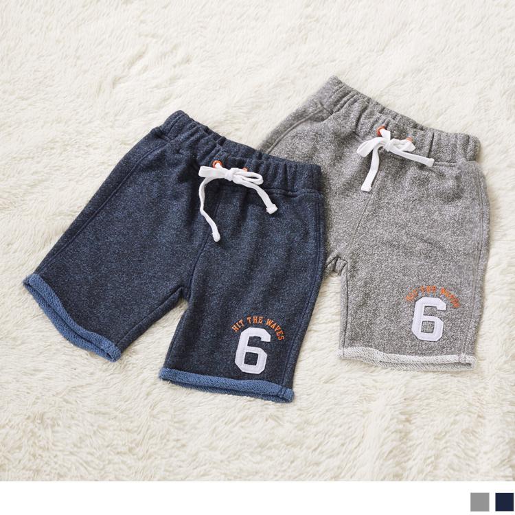 混色燙布造型棉質鬆緊休閒短褲‧童2色