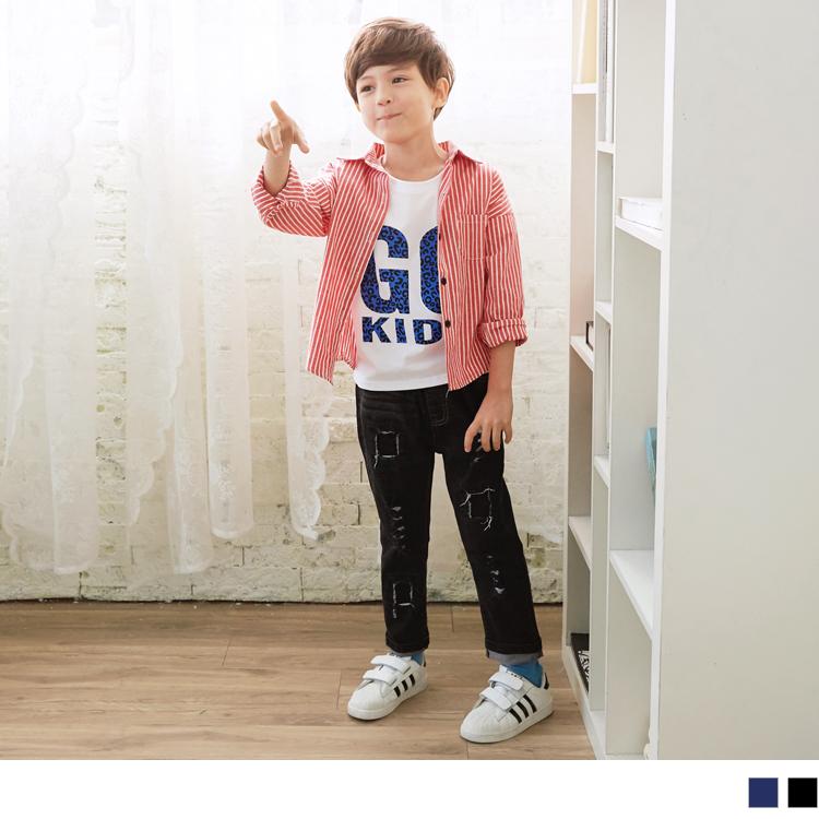 刷破造型鬆緊牛仔長褲‧童2色