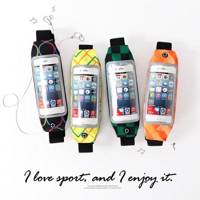 繽紛印花防潑水可觸控反光設計運動慢跑手機腰包.4色