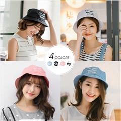 0412新品 精緻英文刺繡純色漁夫帽.4色