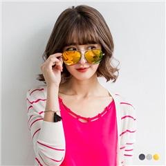 0405新品 【特價款】金屬細框水銀反光鏡面帥氣飛行員太陽眼鏡/墨鏡.3色