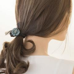 0407新品 緞帶蝴蝶結X多角磨砂珠飾X立體花朵髮圈.4色