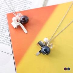 0620新品 【特價款】個性金屬X光澤珠飾造型長項鍊.2色