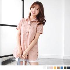 純色高含棉胸前抓皺綴木釦斜造型口袋長版上衣.7色
