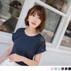 0622新品 純色鏤空布蕾絲綴反折袖圓領T恤.6色