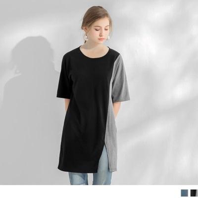 0612新品 側拼色開衩造型圓領短袖長上衣.2色