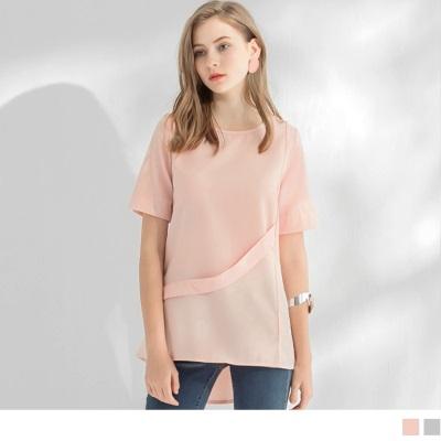 0523新品 裝飾帶造型後傘襬圓領短袖寬鬆長上衣.2色