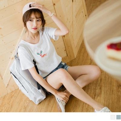 0626新品 粉嫩麋鹿刺繡橫條車縫造型純色竹節棉上衣.2色