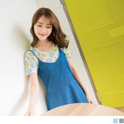 0612新品 高含棉滿版檸檬印花圓領上衣.2色