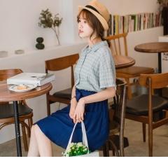 0619新品 高棉量格紋袖口反摺設計襯衫