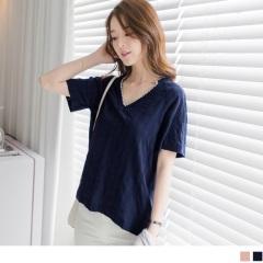 0614新品 高含棉唯美刺繡大V領花紋上衣.2色