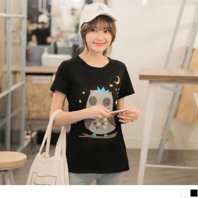 0705新品 繽紛童趣貓頭印燙印高含棉T恤.2色