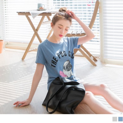 0711新品 台灣製造.巴哥犬單字燙印休閒棉質T恤.2色