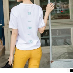 【仲夏狂歡特賣】台灣製造.純色高含棉後背字母燙印V領上衣.2色