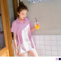 0523新品 高含棉胸前立體壓皺下襬開衩休閒排釦條紋襯衫.2色