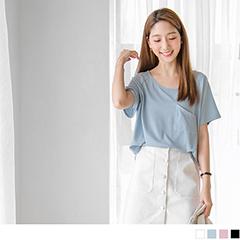 0525新品 素色單邊口袋設計彈性連袖上衣.4色