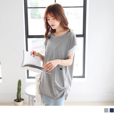 台灣製造.拼接蕾絲花邊袖口側抓皺連袖長版上衣.2色