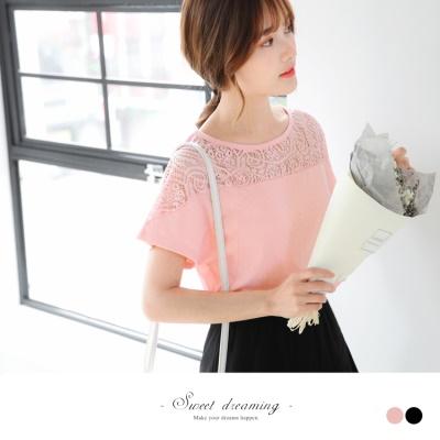 0516新品 台灣製造.素色拼接鏤空蕾絲設計連袖上衣 .2色