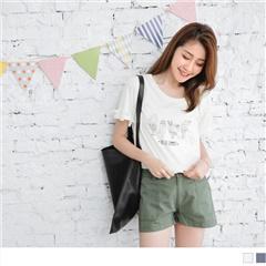 0526新品 台灣製造.趣味冰品燙印抓皺層次荷葉袖T恤.2色