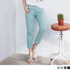 素色硬挺質感破損感設計牛仔男友褲.5色