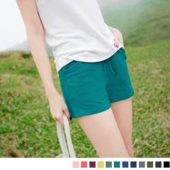 腰圍鬆緊抽繩綁帶多色素面棉感休閒短褲.12色