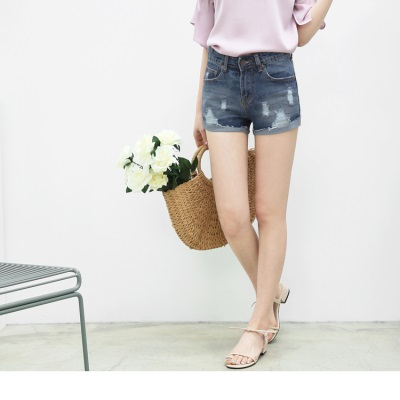 0612新品 率性刷破反褶造型牛仔短褲