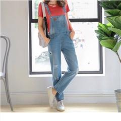 0801新品 皮革飾點綴刷白抓破造型高含棉直筒吊帶牛仔褲