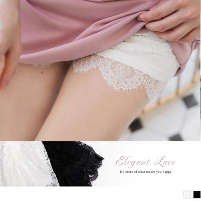 0419新品 純色光澤感睫毛蕾絲貼身短褲/安全褲.2色