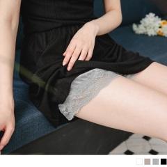 0622新品 腰圍鬆緊光澤感純色緞面蕾絲滾邊安全褲.4色