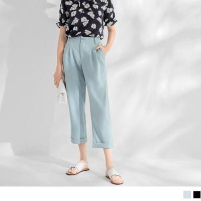 0605新品 雪紡滑順質感反褶褲管寬鬆老爺褲.2色