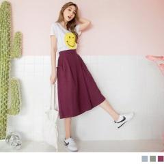 0517新品 後腰鬆緊側邊打褶設計純色高含棉七分寬褲裙.2色