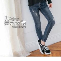 0525新品 經典刷色破損造型彈性修身牛仔褲