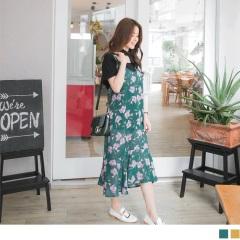 0608新品 甜美撞色肩帶滿版花朵印花拼接魚尾裙襬連身洋裝.2色