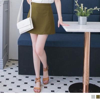 0615新品 好質感光澤後腰拉鍊一片式A字短裙.2色