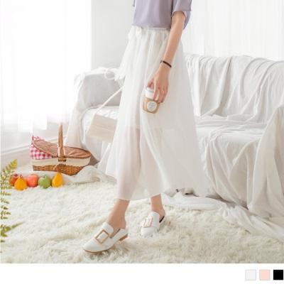 0615新品 素色蝴蝶結綁帶後腰鬆緊設計雪紡長裙.3色