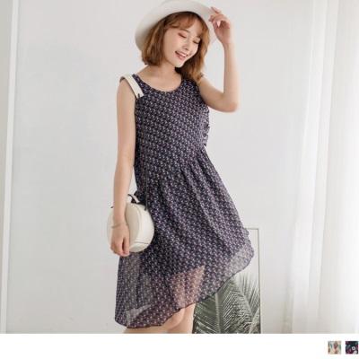 印花雪紡側襬荷葉綁帶造型無袖洋裝.2色