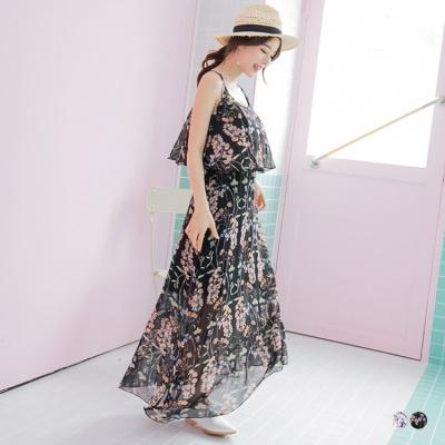 0511新品 滿版花朵印花荷葉層次細肩帶雪紡長洋裝.2色