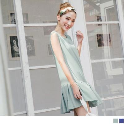 0704新品 素色百褶魚尾後開拉鍊無袖洋裝.2色