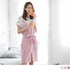 0725新品 口袋設計前襬開衩腰間綁帶造型無袖洋裝.3色