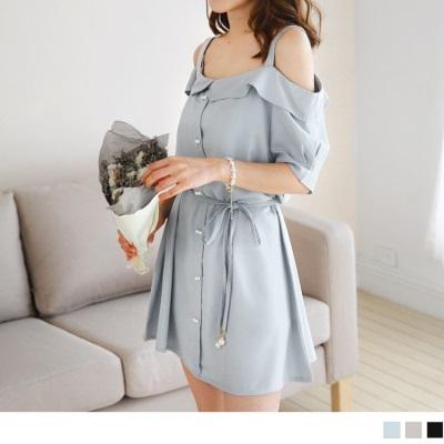 0718新品 附綁帶珍珠排釦造型翻領平口細肩帶長版上衣/洋裝.3色