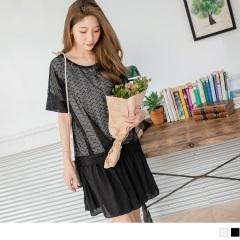 0620新品 鏤空鋸齒雕花罩衫假兩件式抓皺雪紡裙襬洋裝.2色