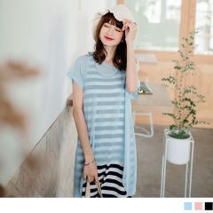 0621新品 雪紡前短後長X橫條紋兩件式圓領長版上衣/洋裝.2色
