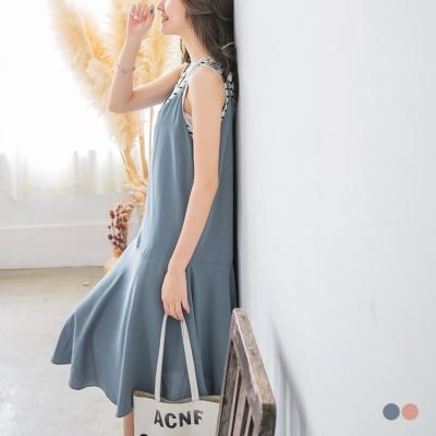 0510新品 素面V領口拼接傘襬設計細肩帶雪紡長洋裝.2色