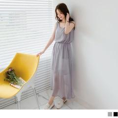 0609新品 素色雪紡交叉美背設計縮腰無袖長洋裝.2色
