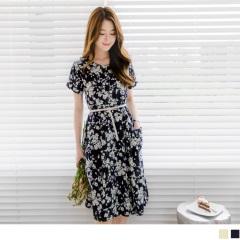 0608新品 滿版碎花前襟排釦收腰打褶雙口袋洋裝.2色