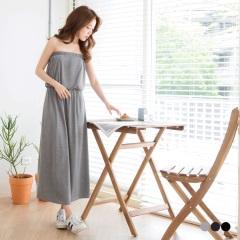 0621新品 素色平口設計腰圍鬆緊彈性長洋裝.3色