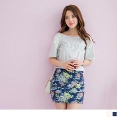 0615新品 高含棉純色字母燙印拼接腰圍鬆緊雙口袋花窄裙.2色